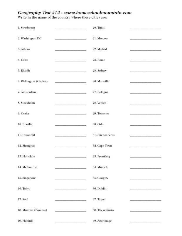 Geography test 12 - 40 Cities of the world - Free for kids and Adults - PDF download